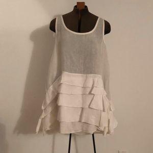 DKNY Pure off white linen tunic/ mini dress